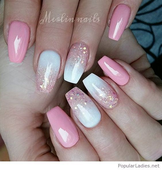 Pink and white gel nail design with glitter FrenchTipNails