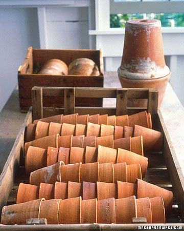 First, thoroughly clean and dry the pots to prevent the growth of fungus and disease. Then, lay them on their sides, one tucked inside another, in a shallow wooden crate; store the crate out of the freezing cold.