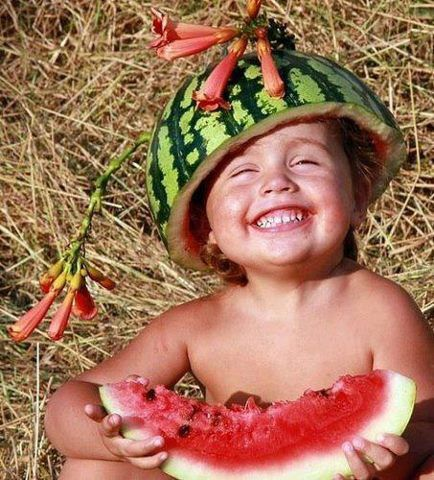 Happy eating watermelon