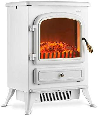 Vonhaus Electric Fireplace Stove Heater With Flame Effect White 1850w Portable Freestanding Fire Place Fireplace Heater Portable Electric Heaters Log Burner