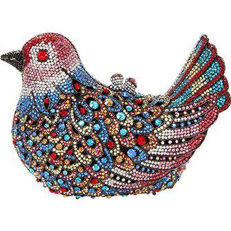 Colourful Diamante Bird Clutch Bag
