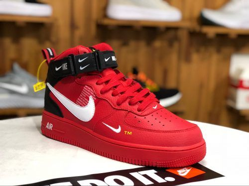 Womens Mens Nike Air Force 1 Mid Utility Red Black Shoes 1