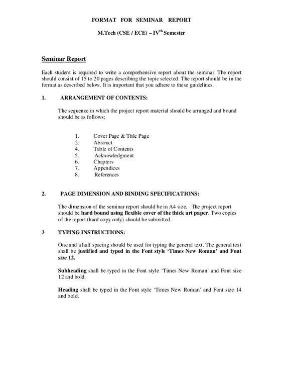 Format For Seminar Report MTech Cse  Ece  Ivth Semester
