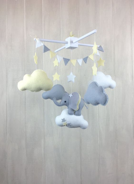 Baby mobile elephant mobile cloud mobile by JuniperStreetDesigns