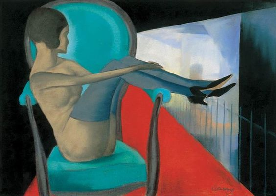 By Attila Sassy (1880-1967), Woman in an Armchair, Pastel.