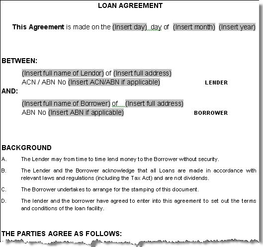 Printable Sample Personal Loan Agreement Form Exercises