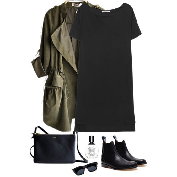Green Blazer and Black Dress: