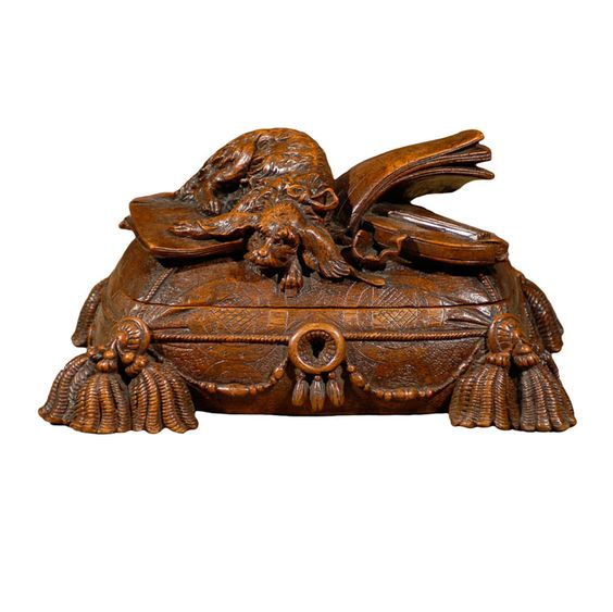 1stdibs | Carved Black Forest Box with Dog