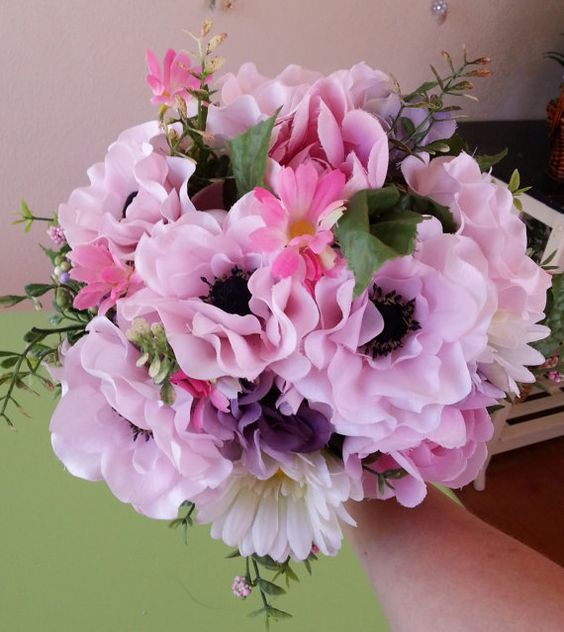 Silk Pink and White bridal bouquet by JocelynsWeddings on Etsy, $55.00