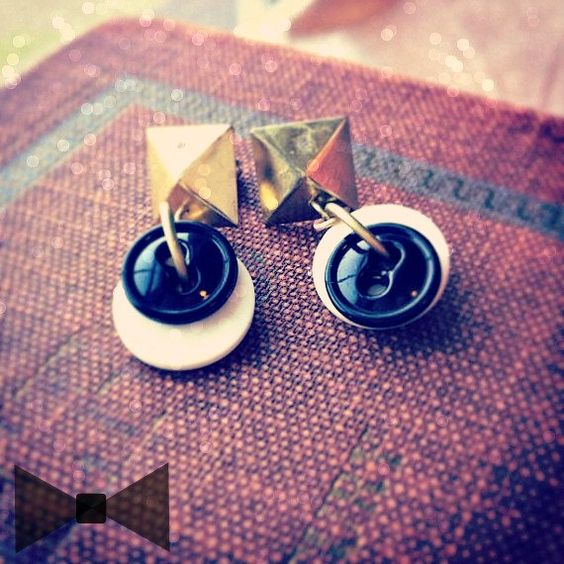 BLACK TIE  Vintage Button Earrings  Geometric by thelibraryfaerie, $5.99