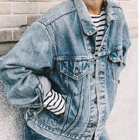 Vintage Oversized Denim Jacket with a black and white striped shirt