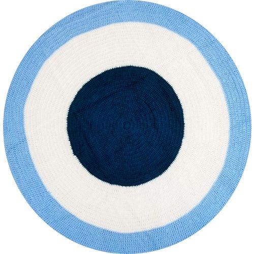 Reuben Crochet Rug (blue, navy & white)