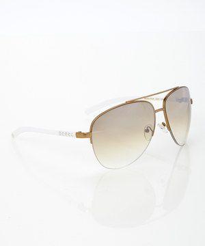 Jessica Simpson Collection Champagne Pilot Sunglasses by Jessica Simpson Collection #zulily #zulilyfinds
