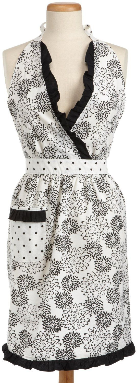White ruffle apron amazon - Amazon Com Dii Black Dahlia S Printed Full Apron With Neck Bottom Ruffles And