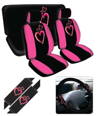 dancing hearts pink seat cover 11 pc set pink hearts cars and car seat cover sets. Black Bedroom Furniture Sets. Home Design Ideas