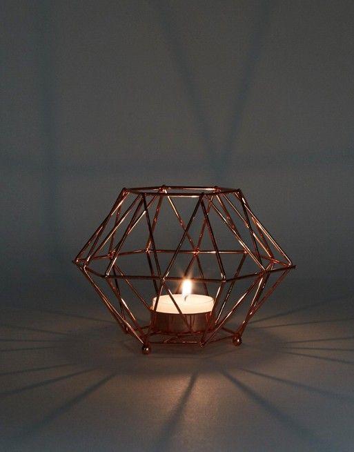 Rose Gold Meta Tea Light Holder