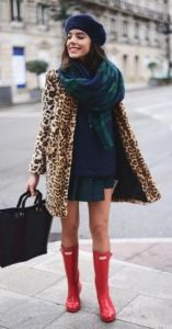 #fall #fashion / leopard print + green tartan scarf