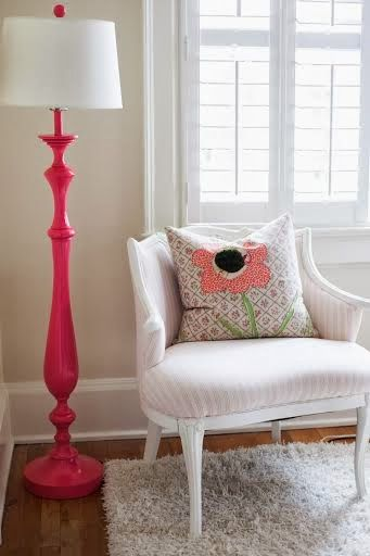Colored Floor Lamps: Rescue. Restore. Redecorate. More. Spray floor lamp a bright color,Lighting