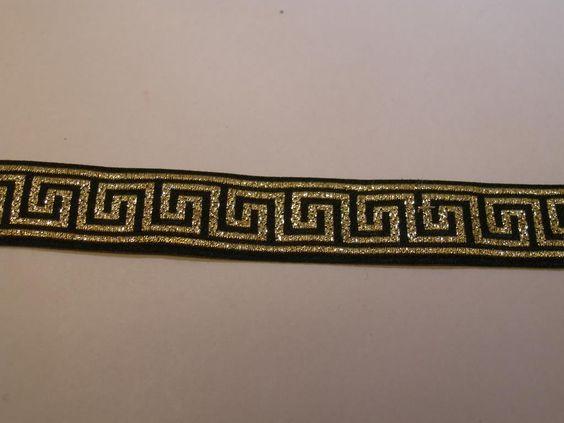 Dekorband, vävt, med grekiskt mönster i guld, 1 meter, 15 mm brett