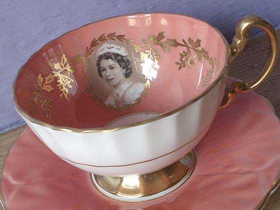 vintage English tea cup and saucer set, 1952 Aynsley Queen Elizabeth II coronation tea set, orange gold bone china tea cup.: