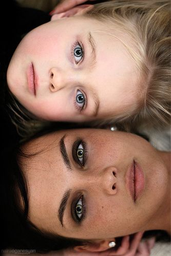 Mother and daughter. Do this every year & see how you change... could do with father and son, too. Love this idea!