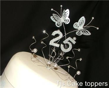 silver 25th wedding Anniversary cake topper butterflies | Wedding ...