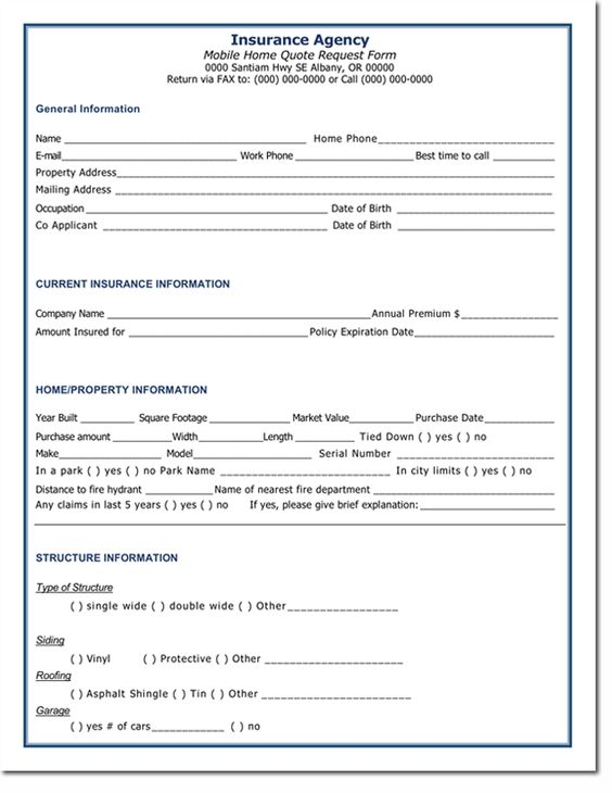 Home Insurance Quotation Form Template | Quotation Templates