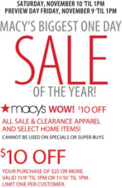 Macy's one day sale coupon december 2018