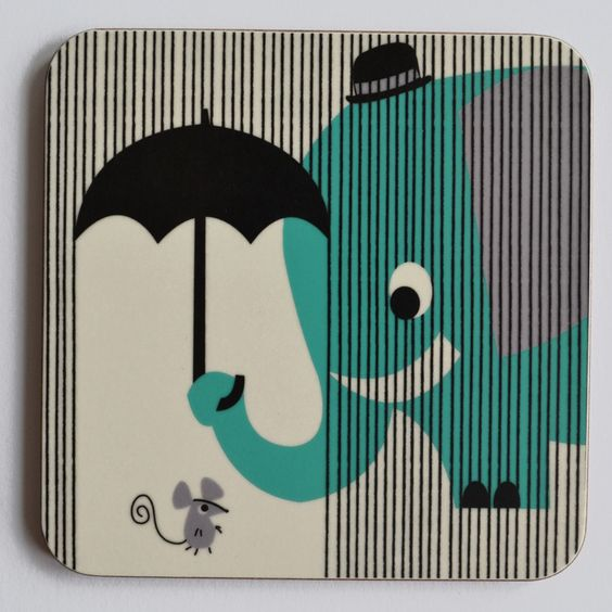 Melamine Coaster 'Eager Elephant' has saved the day! little mouse was caught out in a shower when popping out to buy a cheese sandwich for lunch, lucky for him Elephant was Eager to please!Matching melamine Placemat is also available to buy. A great gift to brighten up tea time for any toddler or fun loving adults alike!Melamine is an extremely durable product, able to withstand temperatures of up to 165 degrees, is easily wiped clean, and with very little care will give you...