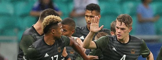 Deutscher Jubel in Rio- Auftakt Olympiatunier Fussball: Mexico-Deutschland 2:2