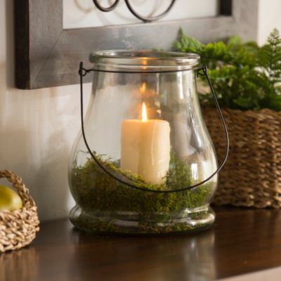 Clear Glass Lantern, 10.5 in. | Kirkland's Love this look! This could be an alternative for the wine bottles?