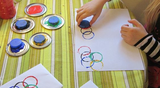 Stamping Olympic Rings craft