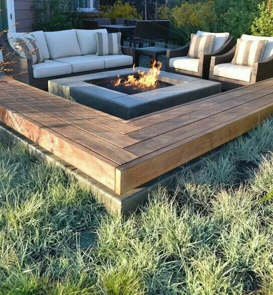 Fire pit surrounded by benches on a concrete slab for Fire pit on concrete slab