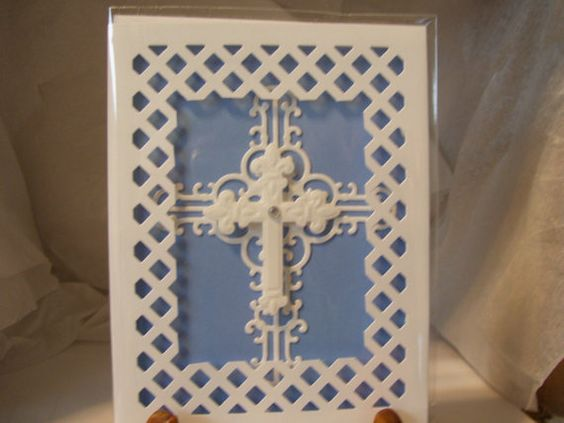 I made this card with white cardstock and then put a layer of blue cardstock. Then I cutout the lattice border trim with a die cut. I also die cut