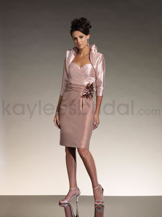 Faux Silk Strapless Sweetheart Ruched Mock-wrap Bodice Slim Knee-length Mother Bride Dress