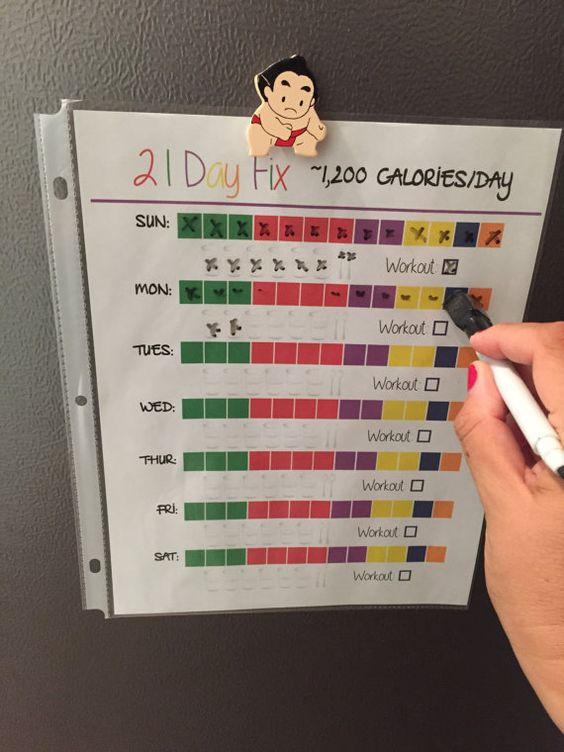 21 Day Fix Food Tracker Quick Week Weekly Log by 21DayFixTools