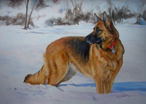 German Shepherd Dog - pet portrait original oil -- Anne Zoutsos art