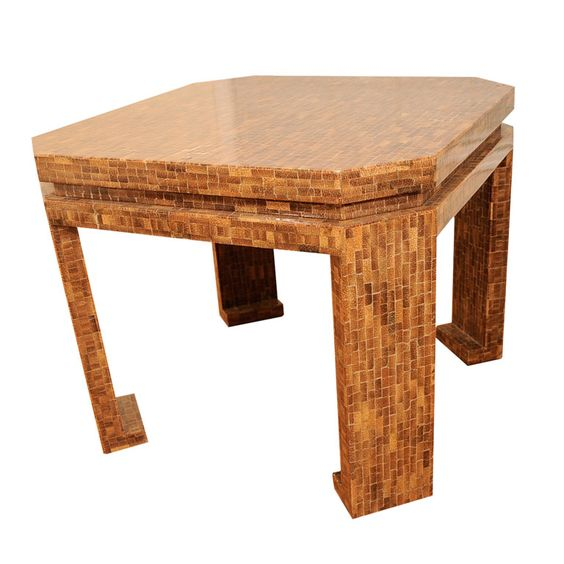 Games table with exterior entirely in shell patchwork veneer, manner of Karl Springer. American, 1970s.