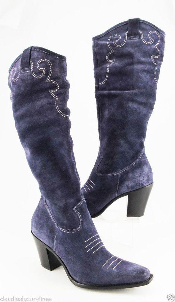 via spiga s blue suede cowboy western boots 8 5