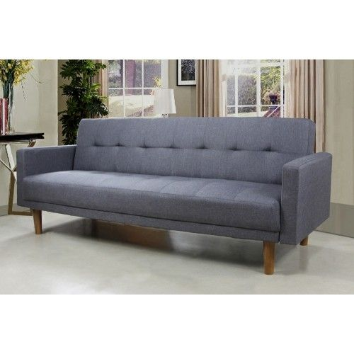 Grey Linen Classic Style Upholstered Sofa Bed With Button Tufting