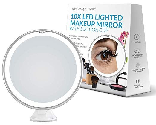 London Luxury 10x Magnifying Makeup Mirror Lighted Makeup Mirror With 20 Leds 8 Wide Travel Makeup Mirror With Lights Makeup Mirror Travel Makeup Mirror