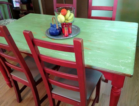 Distressed Farm Style Kitchen Table and Four Chairs Sold by