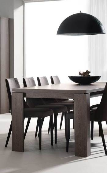 table de salle manger contemporaine lindsey coloris ch ne fonc carr e ou rectangulaire. Black Bedroom Furniture Sets. Home Design Ideas