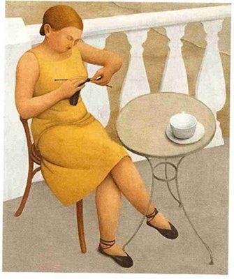 'Woman Knitting' (1930) by English painter Meraud Guevara (1904-1993). via Figuration Feminine: