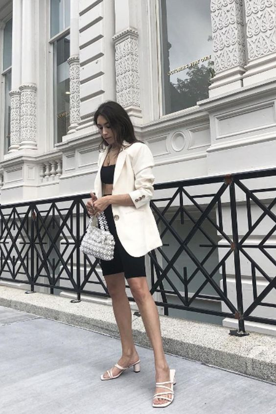 bike short outfits for summer - how to wear a white blazer
