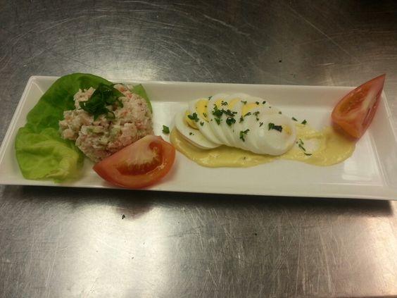 Shrimp salad, lemon aioli, bibb, egg, tomato