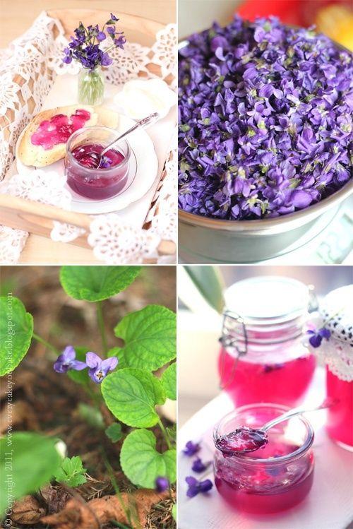Every Cake You Bake: Galaretka fiołkowa: Violets Sweet, Violet Jelly, Bake Violet, Violets Elderflowers, Sweet Violets, Dandelion Revolution
