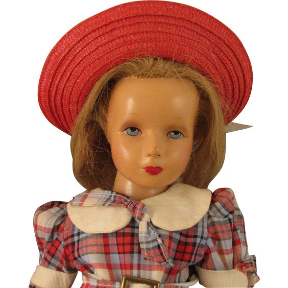"1940s Monica Studios 17"" Composition Doll w/ Rooted Human Hair"