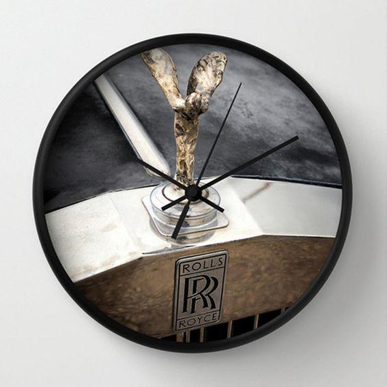 Wall Clock Black & White  Rolls Royce Hood by MScottPhotography: