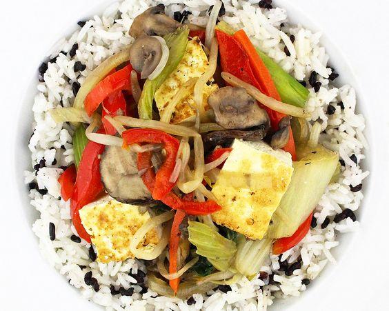 Wild Mushroom Stir Fry with Seared Tofu - Shiitake, crimini, oyster ...